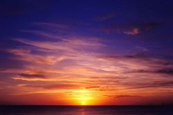 Tropical sea sunset. Sky background