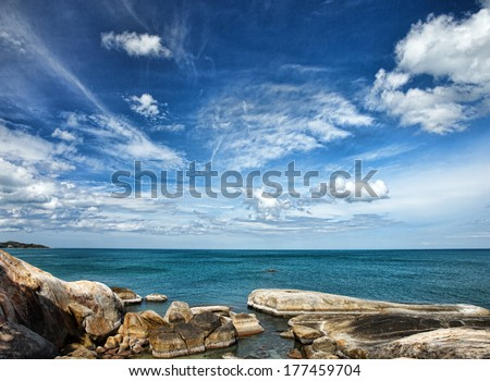 tropical sea under the blue sky