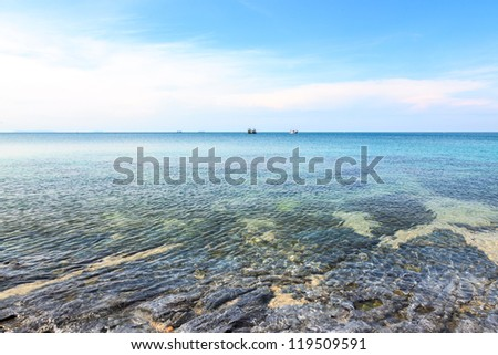 Tropical sea view with clear blue sky