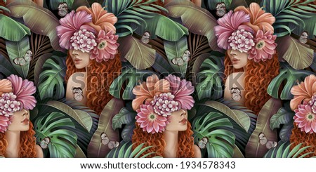 Tropical seamless pattern with beautiful curly redhead women, bouquets of hibiscus flowers, plumeria, monstera, palm, banana leaves, butterflies. Hand-drawn vintage 3D illustration for lux wallpapers