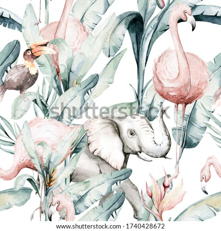 Tropical seamless pattern with flamingo. Watercolor tropic drawing, rose bird and greenery palm tree, tropic green texture, exotic flower.