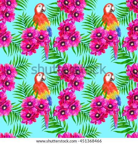 Tropical seamless pattern with parrots, anemone and palm leaves
