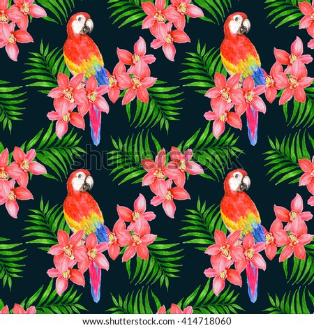 Tropical seamless pattern with parrots, orchids and palm leaves at dark background