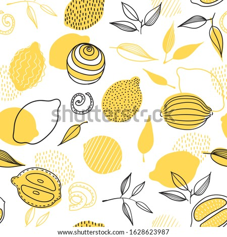Tropical seamless pattern with yellow lemons. Fresh lemons for fabric, print on t-shirt, wallpaper. Fruit repeated background. Slices of a lemon, doodle style.