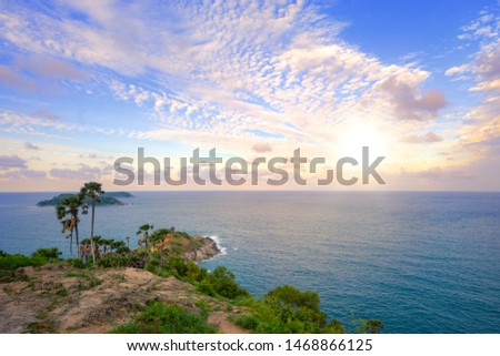Tropical seascape, Sunset with beautiful sky at Promthep Cape view point Phuket Thailand