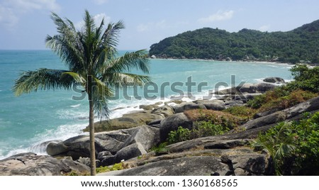 tropical silver beach oh koh samui in thailand #1360168565