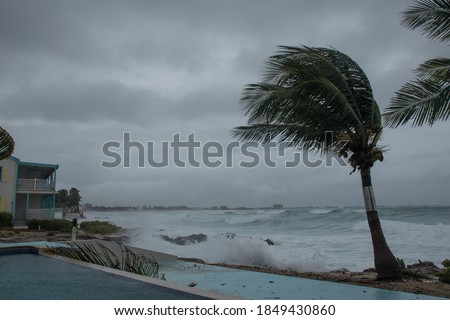 tropical storm Eta smashing the coastline of Grand Cayman