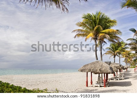 Tropical summer beach resort with palm trees and cabanas in Miami Beach Florida on a beautiful summer day with colorful ocean waters of the Atlantic, pristine sands and cloudy sky. Copy space.
