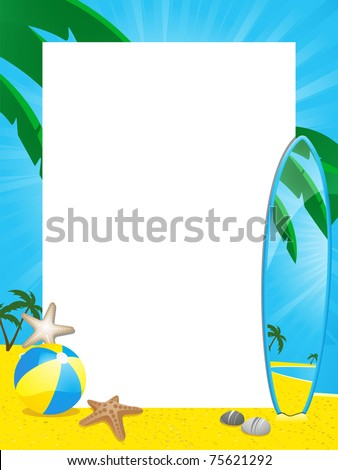 Tropical summer border with palm trees, beach surf board