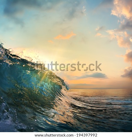 tropical summer design template beautiful ocean surfing wave breaking out #194397992