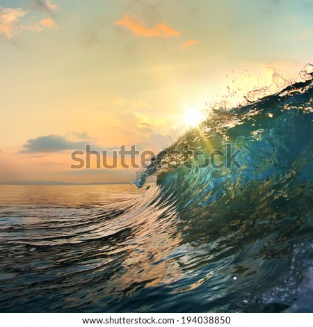 tropical summer design template beautiful ocean surfing wave breaking with drops and splashes #194038850