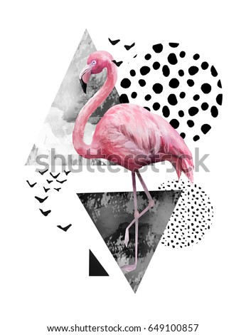 Shutterstock Tropical summer geometric poster design. Triangles and circle with grunge textures. Watercolor pink bird - flamingo. Exotic Abstract background, vintage. Hand painted illustration. doodles retro
