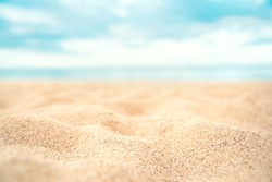 Tropical summer sand beach on sea background, copy space.