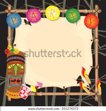 Tropical summer tiki or luau party with lanterns, tiki head, tiki torches and bamboo frame.