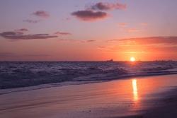 Tropical sunrise over Atlantic Ocean. Bavaro beach, Punta Cana, Dominican Republic
