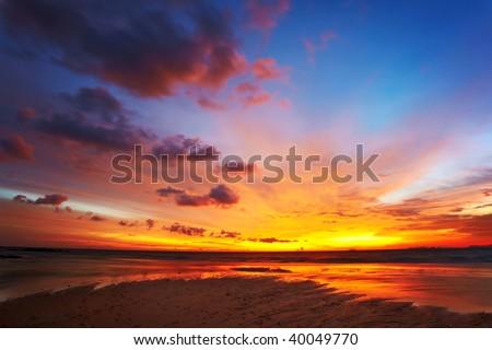 Tropical sunset on the beach. Koh Lanta island. Thailand - stock photo