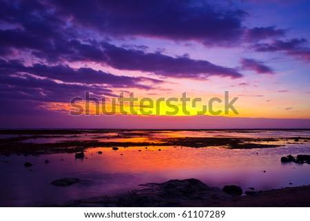 Tropical sunset on the beach. Lombok island. Indonesia