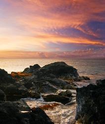 Tropical sunset on the Big Island. Hawaii. USA.