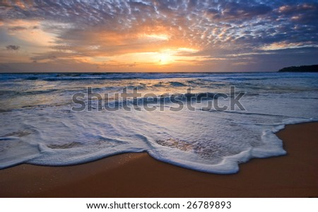 Tropical sunset. Surin beach. Phuket island. Kingdom Thailand