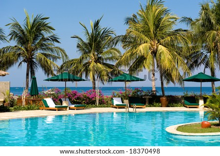 tropical swimming pool near the beach