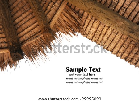 Tropical thatch roof isolated on white background - stock photo
