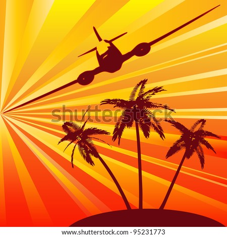 Tropical Travel, retro background for the holiday industry