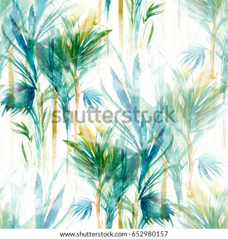 tropical trees seamless pattern. abstract watercolor hand drawn picture. mixed media artwork for textiles, fabrics, souvenirs, packaging and greeting cards.