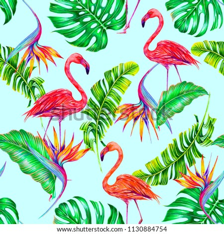 Tropical trendy summer seamless pattern background with pink flamingos, exotic flowers, jungle leaves, monstera leaf, bird of paradise flower, strelitzia. Botanical hawaiian illustration wallpaper