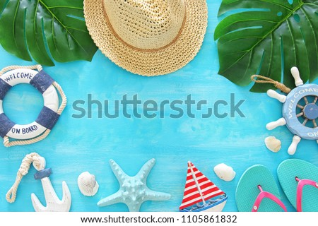 Tropical vacation and summer travel image with sea life style objects. Top view #1105861832