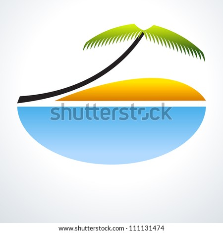 Tropical Vacation Icon. Palm Tree, blue sea and sand. Travel Design