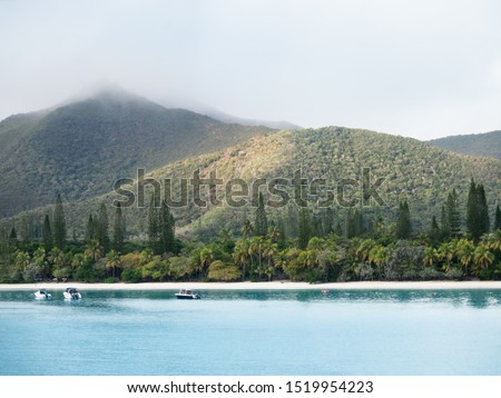 Tropical vegetation at the beautiful beach at Kuto Bay with Pic N'Ga Mountain top engulfed in clouds and mountain ridges lit by the sun in the background and a few boats on the water at Isle of Pines.