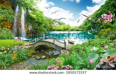 tropical view with waterfall, lake, bird, white horse and wood bridge. 3D rendering