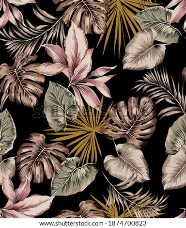 Tropical vintage leaves seamless pattern illustration. Antique colorful botanic plants, exotic palm leafs, banana leaves, monstera and areca palm colorful elements on black color background.