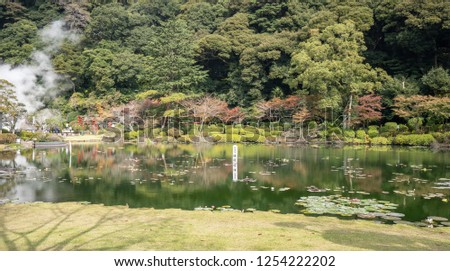 """Tropical water lily in UMI JIGOKU (Sea Hell) pond in autumn, which is one of the famous natural hot springs viewpoint, the japanese is picture means """"Water Lily"""" and """"Danger, please keep out."""""""