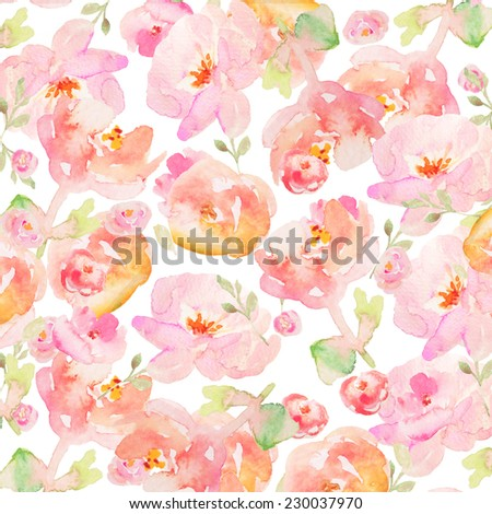 Tropical Watercolor Flower Background. Colorful Watercolour Flower Background. Hand Painted Watercolor Background
