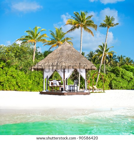 stock photo tropical wedding ceremony location beautiful blue sky and