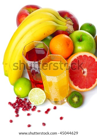 Tropical wet fruits with glasses on white background