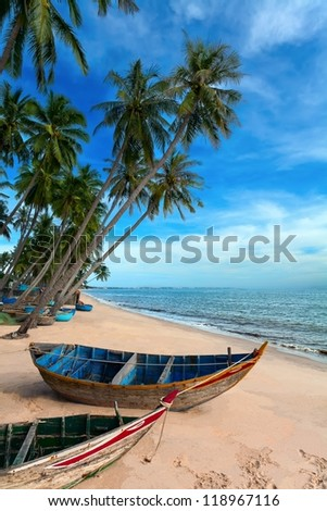 tropical white beach Vietnam with palm trees and clouds