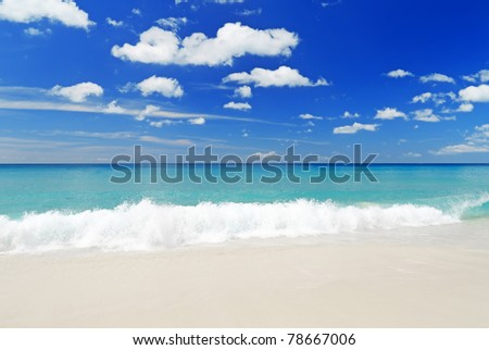 Tropical white sand beach and blue sky.