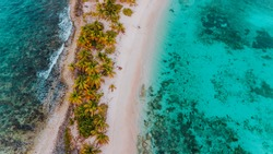 Tropical white sandbar in the middle of the Caribbean Sea, exotic deserted island in the ocean with green palm trees, surrounded by coral reef and turqoise water, Sandy Island in Carriacou, Grenada