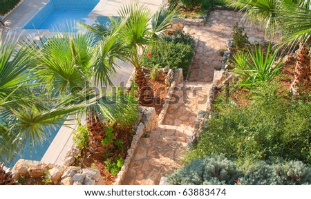 Tropical yard of villa with swimming pool and stairs