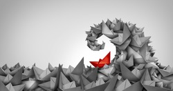 Trouble concept as a business symbol as a paper boat climbing uphill as a metaphor for struggle and overcoming obstacles and competition strategy.