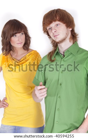 trouble in relationship - frustrated man and woman on a white background