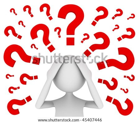 Troubled with Questions. Concept depicting troubled man raising a lot of questions