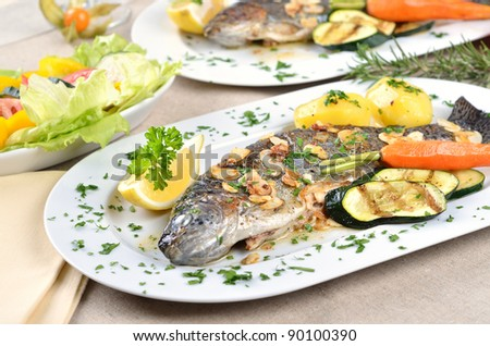 Trout amandine (fried trout with butter, lemon and almonds)