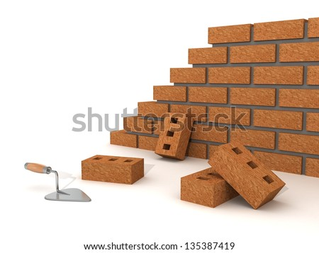 trowel and brick wall on white background