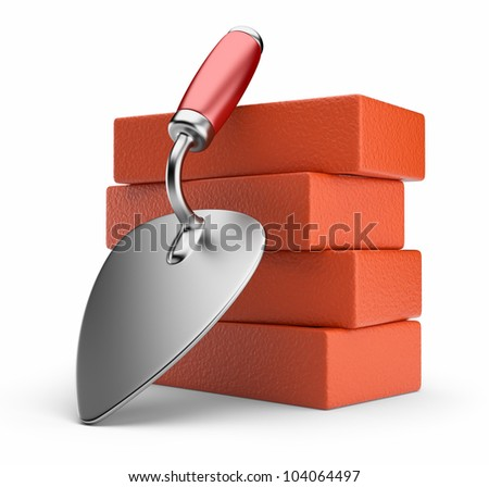 Trowel and bricks. Work place. 3D icon isolated on white background