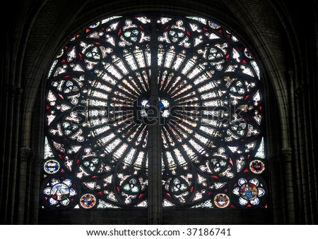 Troyes (Aube, Champagne-Ardenne, France) - Interior of the ancient cathedral, in gothic style, rose window