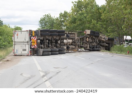 truck accident on road Overturned Truck Thailand on 25 June 2014