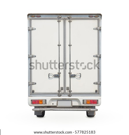 Truck and cargo container for shipping and transportation isolated on white background with clipping path included in fie. #577825183